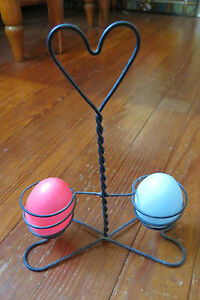 Antique Twisted Wire Twin Egg Holder With Heart Top