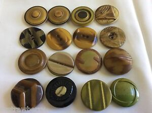 Vintage Mixed Lot Of 16 Art Deco Retro Celluloid Buttons Mixed Size