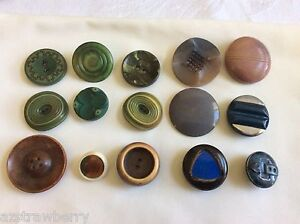 Vintage Old Art Deco Celluloid Decorative Mixed Color Size Lot Of 15 Buttons