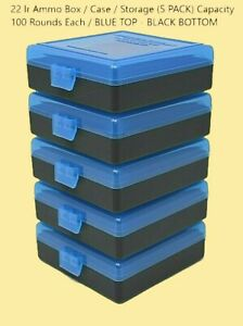 22 lr Ammo Box  Case  Storage (5 PACK) Capacity 100  BLUE TOP - BLACK BOTTOM