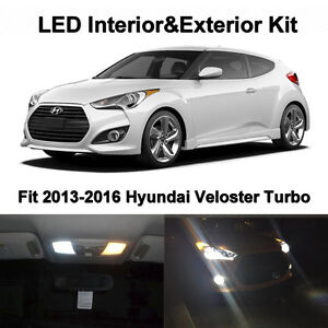 9x White Led Interior Fog reverse Lights For 2013 2016 Hyundai Veloster Turbo
