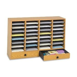 Adjustable Literature Organizer 32 Compartment With Drawer Oak Wood Safco