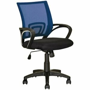 Corliving Workspace Mesh Back Swivel Office Chair In Navy Blue