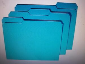 New 100pk Staples Colored File Folders W Reinforced Tabs Letter 3 Tab Blue