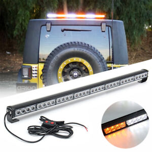 640w 36inch 32 Led Flash Strobe Light Bar White Amber Traffic Advisor Work Kit