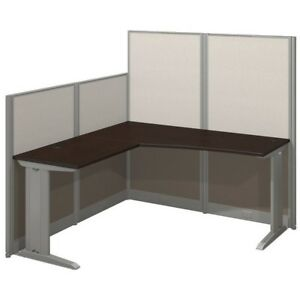 Office In An Hour 65w L Shaped Cubicle Workstation In Mocha Cherry