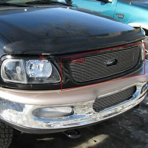 Billet Grille Insert 97 98 Ford Expedition Front Grill Upper Aluminum Overlay