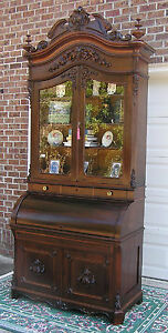 Exceptional Victorian Rosewood Cylinder Secretary Desk