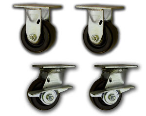 4 X 2 Heavy Duty Casters W Phenolic Wheels 3200 4 Pk Swivel rigid Cart