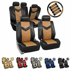Faux Leather Car Seat Covers For Auto Steering Wheel Belt Pad Airbag Split Bench
