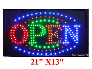 Large Bright Animated Business Led Open Sign W Switch 21 X13 Store Sign