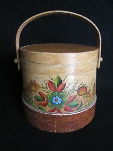 Vintage Hand Painted Firkin Pantry Sugar Bucket Wooden Round With Lid