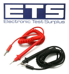 Threaded Lantern Tip Hard Point Test Lead Cable Set With 5 Coiled Cord