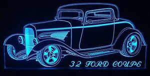 Ford 1932 Coupe Hotrod Edgelit Sign bar man Cave Led Remote Control Light Car