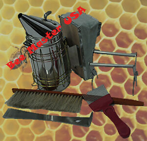 Bee Hive Basic Inspection Tool Kit 5 Pcs smoker frame Grip brush hive Tool fork