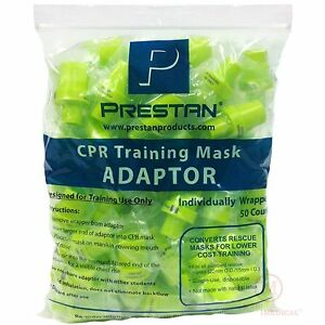 Pack Of 50 Cpr Pocket Rescue Mask Training Adapter Valves Prestan 10076 ppa 50