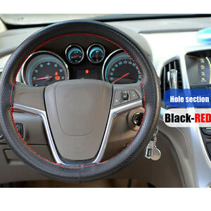 Car Truck Pu Steering Wheel Cover With Needles And Red Thread Black Diy