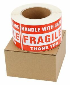 3 Rolls 3x5 Large Fragile Handle With Care Shipping Labels Stickers 500 roll