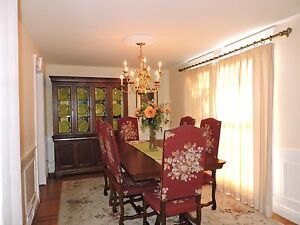 Vintage Dining Room Set W 8 European Upholstered Chairs