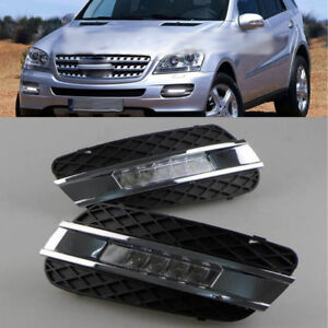 2x White Led Drl Lights Daytime Run Lamps For Mercedes Benz W164 Ml class 06 09