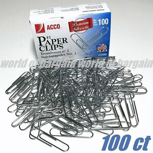 100ct Acco Paper Clips 1 Trombones Top Quality Made In Usa File Folder Clip C49