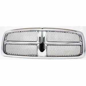 New Grille Assembly Grill Chrome Shell W Gray Insert For Dodge Ram 1500 02 05