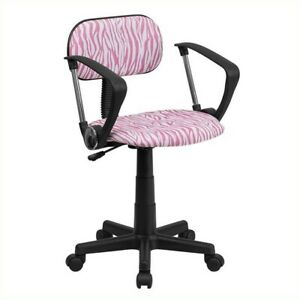 Flash Furniture Pink And White Zebra Print Computer Office Chair With Arms