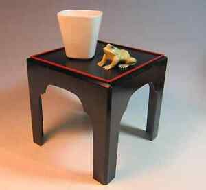 Japanese Lacquer Stand Table With 4 Legs 6 Inches Tall Wide