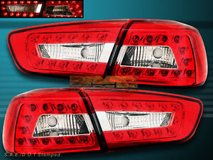 2008 11 Mitsubishi Lancer Evolution Red Clear Led Tail Lights 4pcs New