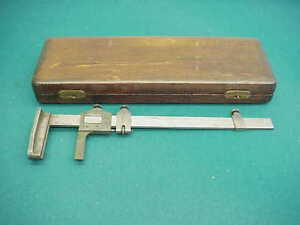 Brown And Sharpe Old Wood Case Simplex 233 Tool Usa Ruler Slide