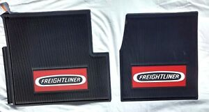 Freightliner Classic xl fld Oem Black Rubber Floor Mats W red Logo 2 Pc New