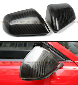 Carbon Fiber Side Mirror Cover Cap For 2015 2020 Ford Mustang With Led Signal