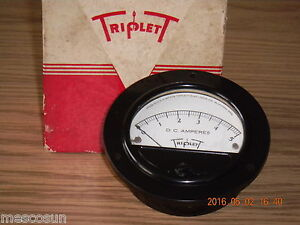 Vintage Triplet Model 321 t Panel Meter 0 5 Dc Volts 3 1 2 Diameter Nos Tested