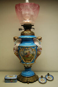 Antique Rococo Sevres French Porcelain Figural Lamp Oil Winged Angel Cigarette
