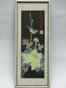 Fabulous Antique Early 20 C Chinese Painting On Silk Garden Bird