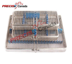 Set Of 3 Sterilization Cassette Mesh Tray Dental Instrument