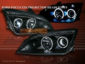 2005 2007 Ford Focus Zx4 Projector Headlights Two Halo Ccfl Black