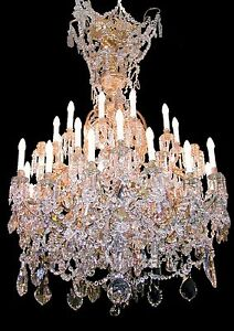 Antique 19th Century French Louis Xvi Crystal Gilt Bronze Chandelier 36lights