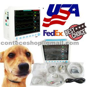 Veterinary Vet Portable Icu Patient Monitor Ecg Nibp Spo2 Pr Resp Temp Us Seller