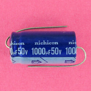 Nichicon 1000uf 50v Electrolytic Cap 85c Pre tested Axial Lead Ufd Mfd Volt New