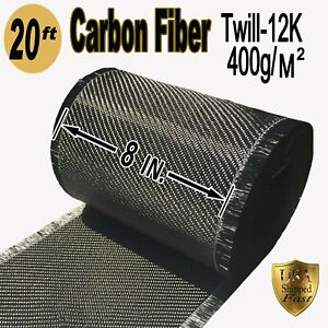 8 X 20 Ft carbon Fiber 3k 220g m2 2x2 Twill Weave Fabric
