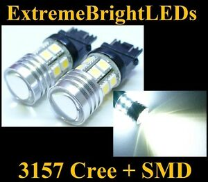 Two Xenon Hid White 3156 3157 Cree Q5 12 smd Backup Lights 80a