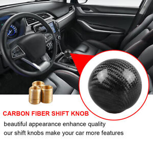 Car Gear Shift Knob Round Ball Shape Black Carbon Fiber Universal With Adapters