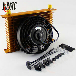 15 Row Engine Transmission 10an Universal Oil Cooler 7 Electric Fan Kit Gold