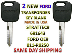 2 New Ford Lincoln Mazda Pats Transponder Chip Key 691643 011 r0250 Uncut H86 p
