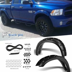 Textured 2009 2018 Dodge Ram 1500 Pocket Riveted Fender Flares Cover Paintable