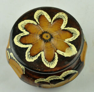 Vintage Jewelry Sewing Round Carved Wooden Box Beautiful Bowl With Lid