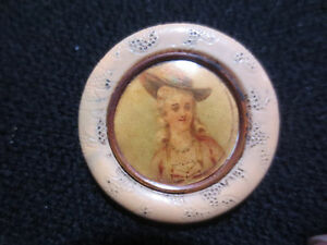 Scarce Victorian Celluloid Lithograph Marie Antoinette Type Button Type 11
