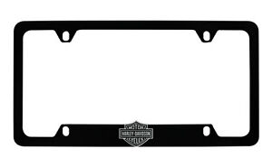 Harley Davidson Flat Matte Black License Plate Frame Holder With 3d Bar