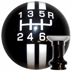 Rally Stripe 6 Speed Blk white Shift Knob W Spec Blk Adapter Fits 10 12 Camaro